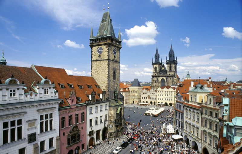 Old Town Square - tower of the Old Town Hall and Týn Church