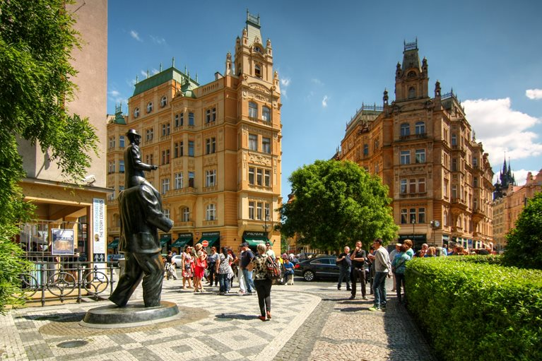 Franz Kafka Square and the house where he was born