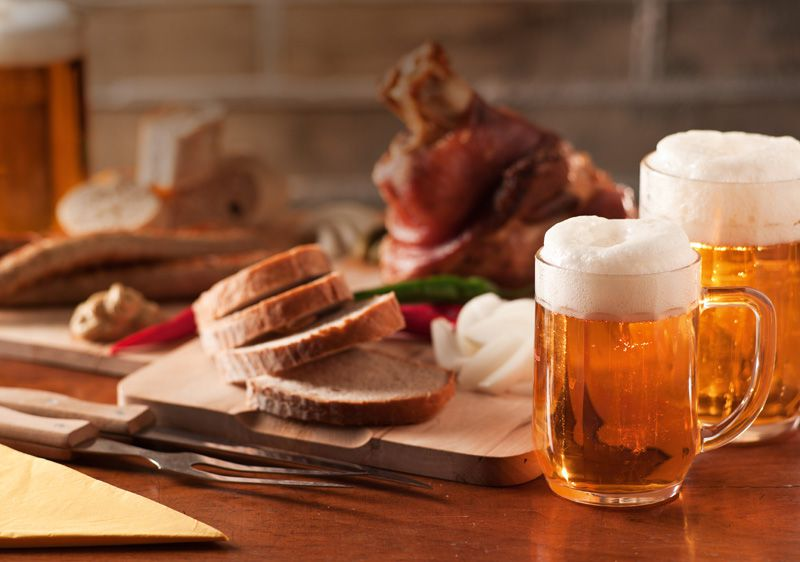 Roast pork knuckle and beer
