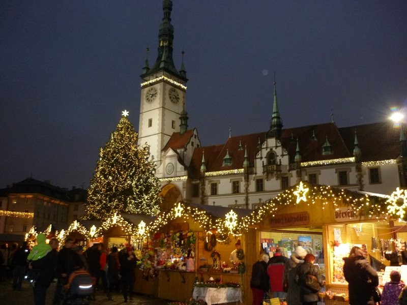 Traditional Christmas markets in the historic center of Olomouc.