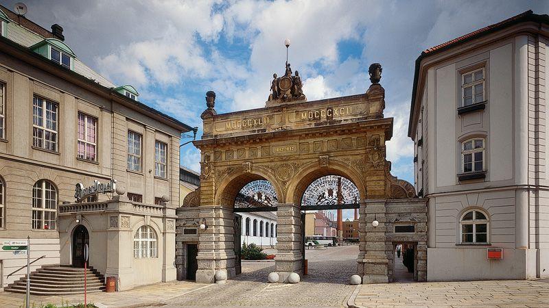 Plzeň - le portail de la brasserie Pilsen
