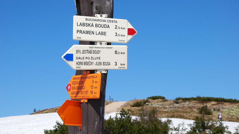 Krkonoše Mountains - signpost