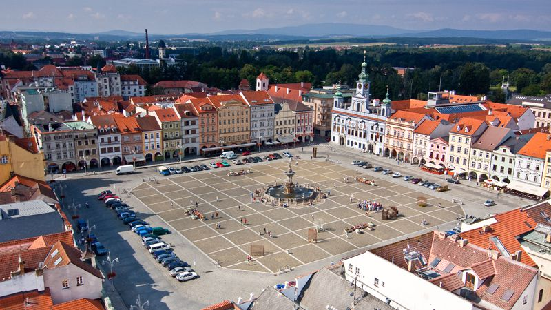České Budějovice - la place Ottokar II de Bohême