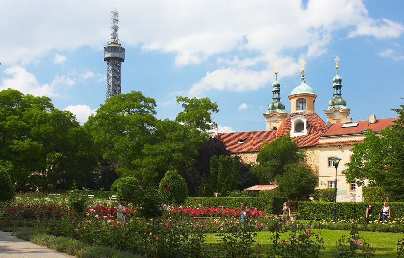 Petřín - lookout tower and Church of St. Lawrence